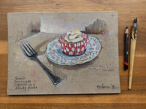 'Cupcake' - Still life oil painting on unbleached canvas