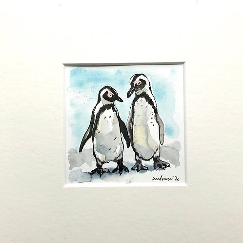 'Nodding off' - Miniature watercolour Penguin Painting