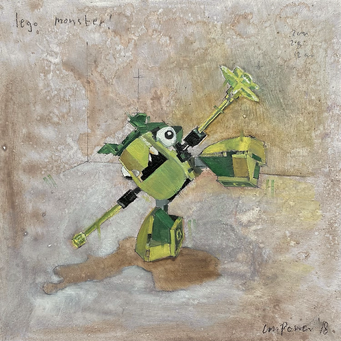 'Lego Monster' - Still life oil painting on prepared board