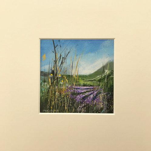 Lavender Fields - miniature landscape painting