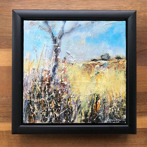 'Late summer Fields' - 15cm x 15cm framed landscape