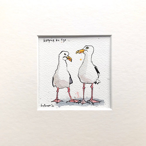 Miniature seagull painting – keeping an eye
