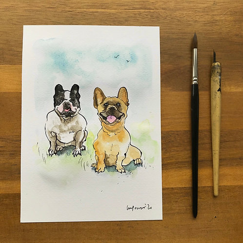 'Frenchie Smiles'  - Ink and watercolour painting