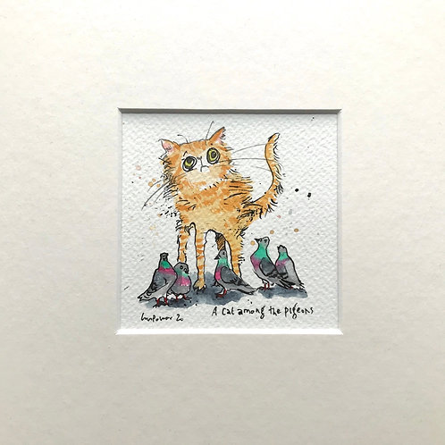 'Cat among the pigeons' cat painting- watercolour and ink drawing