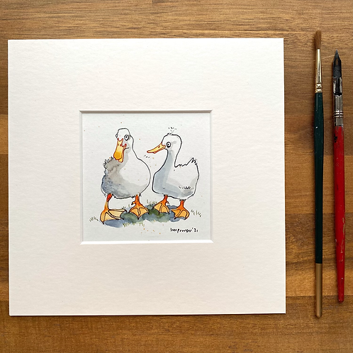 'Duck Besties #03' - mini painting of two white ducks
