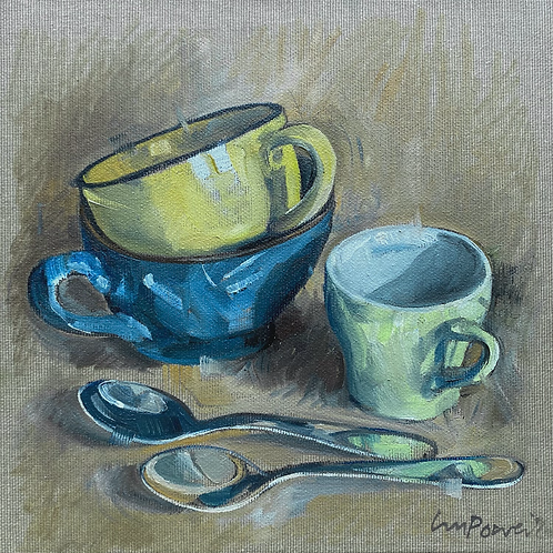 'Cups and spoons' - Still life oil painting on linen