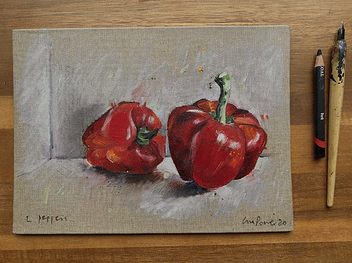 'Red Peppers' - Still life oil painting on linen