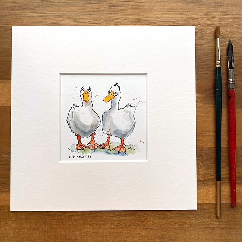 'My friend Tufty' - mini painting of two white ducks