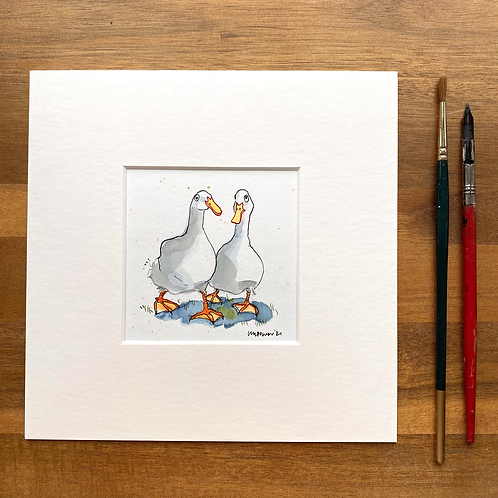 'Duck Besties #02' - mini painting of two white ducks