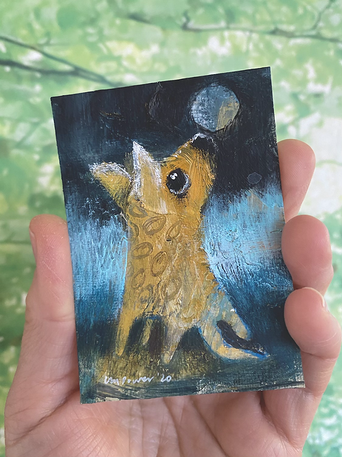 "'Moon Dog' - miniature Dog painting ACEO 2.5"" x 3.5"""