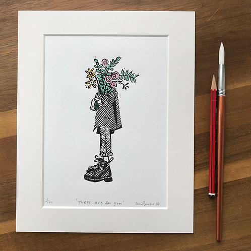 'These are for you' - linocut print (Mother's day gift)