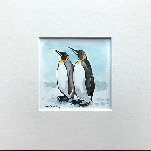 'Emperor Buddies' - Miniature Penguin Painting