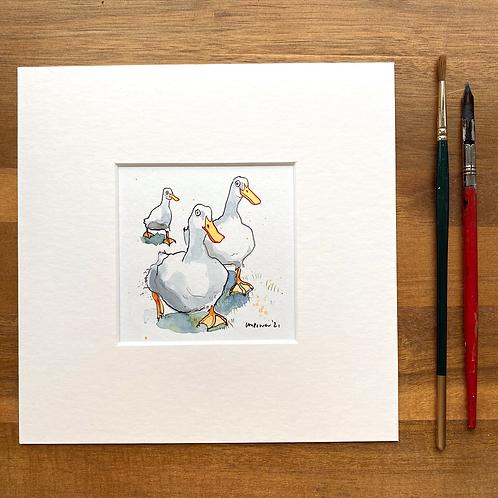 'Park Run' - mini painting of three white ducks