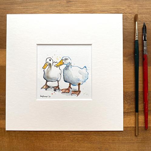 'Duck Mates #01' - mini painting of two white ducks