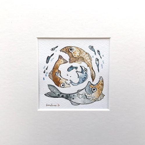 Fish eating fish #02 - Original comical pen & ink drawing with watercolour