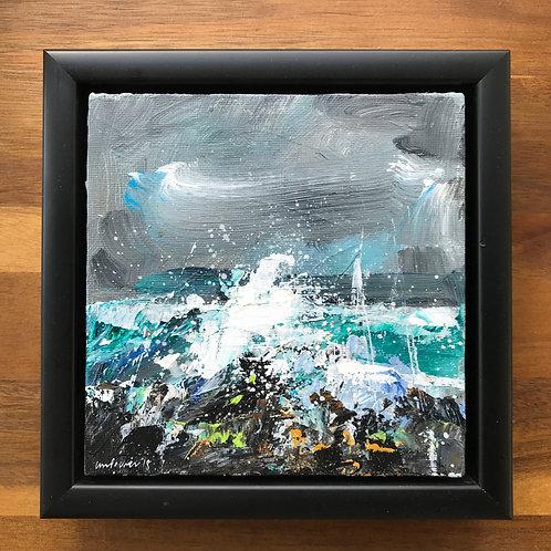 'Sea Spray' - 15cm x 15cm Framed Seascape