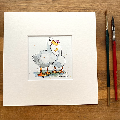 'Duck, Duck, Butterfly' - mini painting of two white ducks