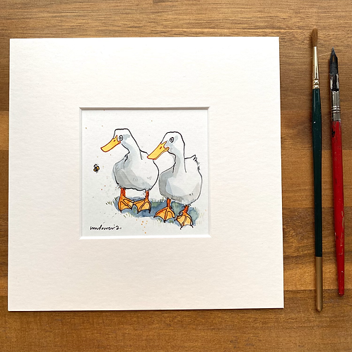 'Duck, Duck, Bee' - mini painting of two white ducks