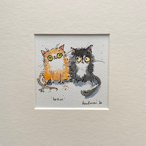 'Cat Besties' cat painting- watercolour and ink drawing