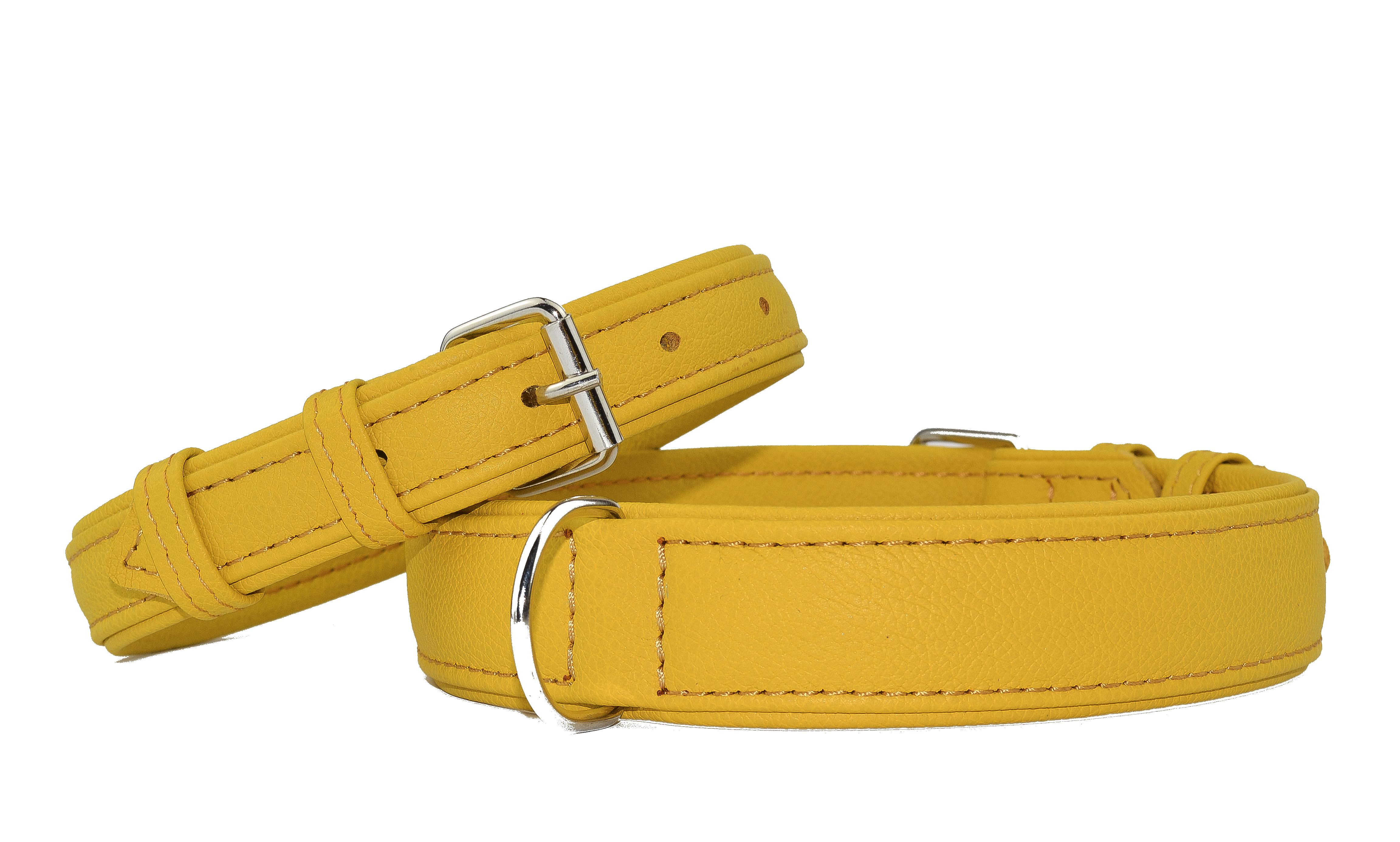 Ошейники кожаные желтые 2