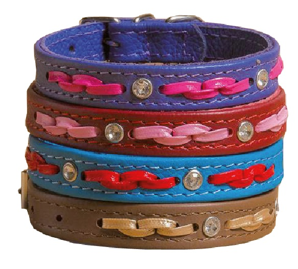 8013 Ошейник кожаный с плетением