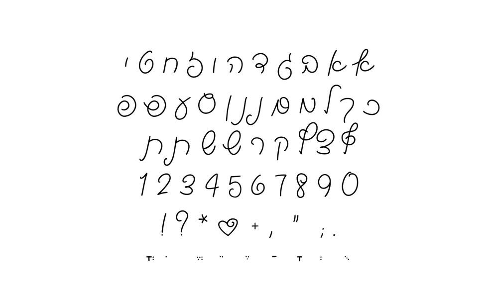Alef Bet Layout - Hebrew Font Strudel