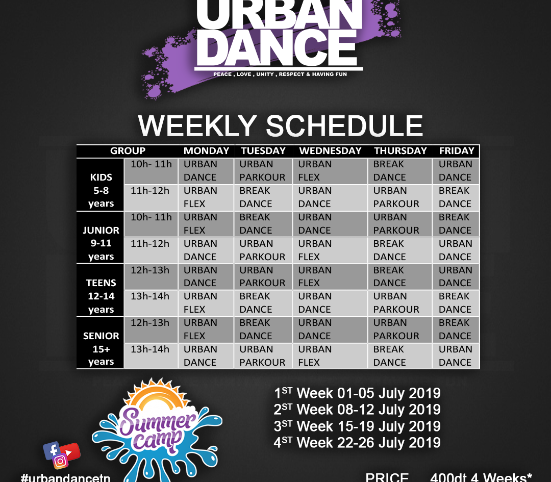 URBAN DANCE summer CAMP planning -Recove