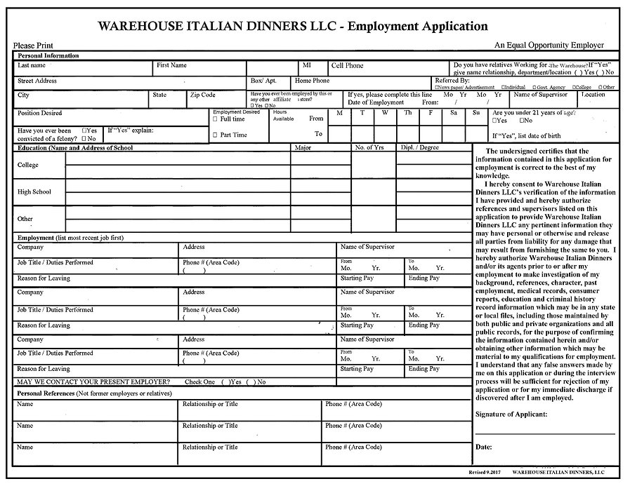 Warehouse Marion and Delaware Application