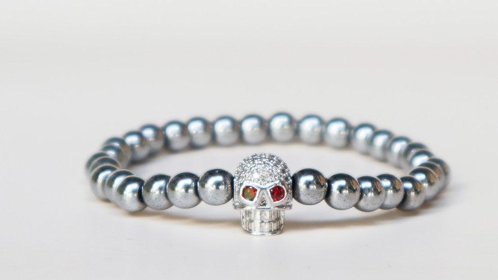 Silver Plated Hematite W/ Silver Zircon Skull