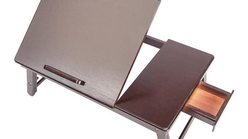 53x33cm Retro Plain Adjustable Bamboo Laptop Desk w/ Drawer Dark Coffee