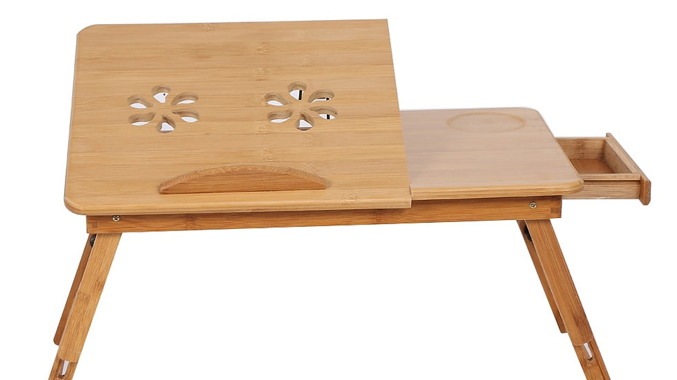 53cm Laptop Stand Desk With Mouse Tray Adjustable Double Flower Engraving Bamboo