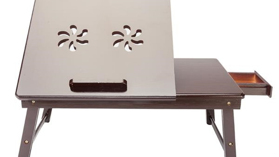 53x33cm Retro Double Flower Adjustable 4 Gears Bamboo Laptop Desk Dark Coffee