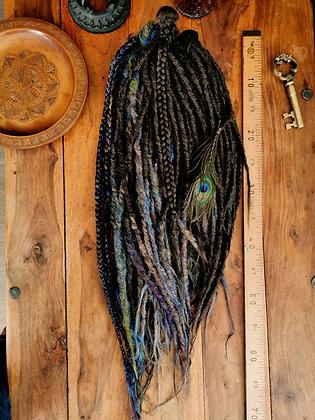 Lot complet - 50 dreads doubles - Paon et brun