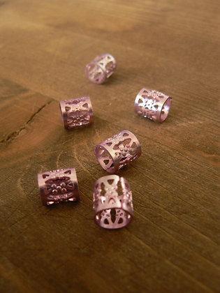 Perle couronne rose (lot de 6)