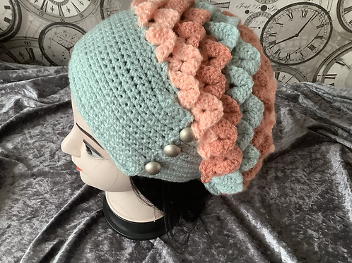 Dragon Scale Slouch Hat - duck egg/terracotta/apricot