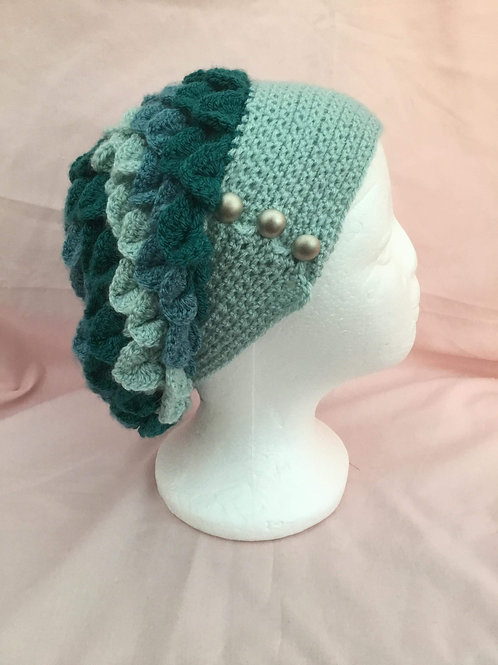Dragon Scale Slouch Hat - Teal
