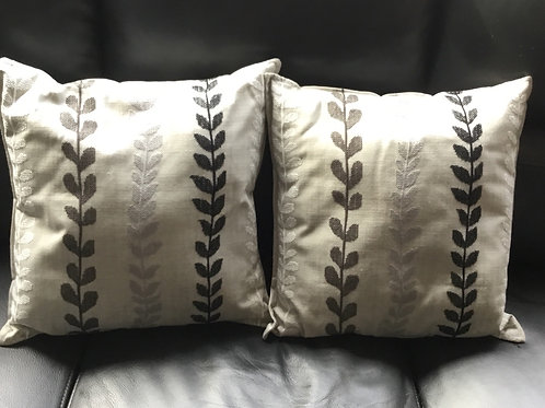 Pair of Cushions, X-Stitch Foliage