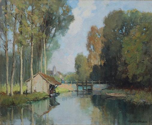 GEORGES CHARLES ROBIN | Vieux Lavoir et Sous-bois sur l'Eure