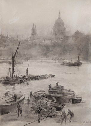 WILLIAM LIONEL WYLLIE | A View Across the Thames