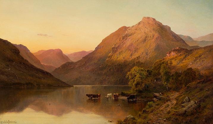 ALFRED DE BREANSKI | Sunset over a Highland Loch