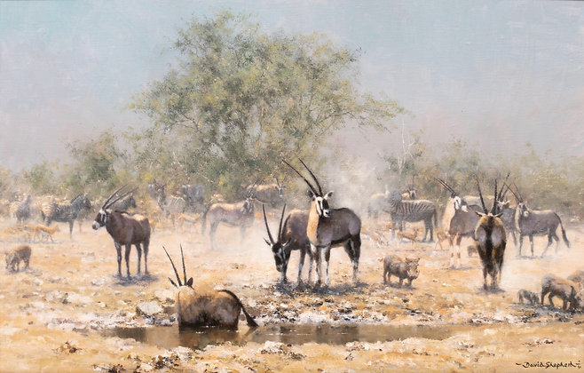 DAVID SHEPHERD | Estosha Waterhole, Gemsbok