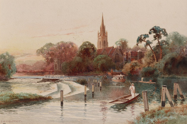 ERNEST WILLIAM HASLEHURST | Punting on the Thames