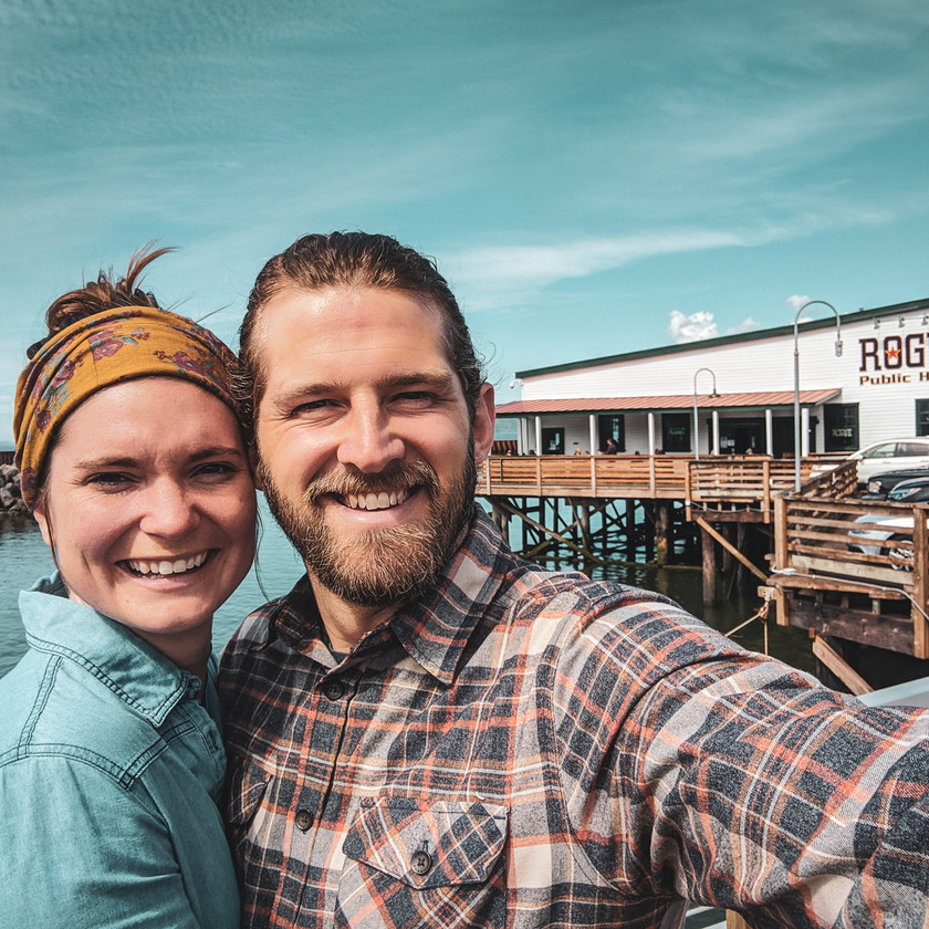 Steph and Scott from Each Day Slow outside of Rogue Public House in Astoria, Oregon.