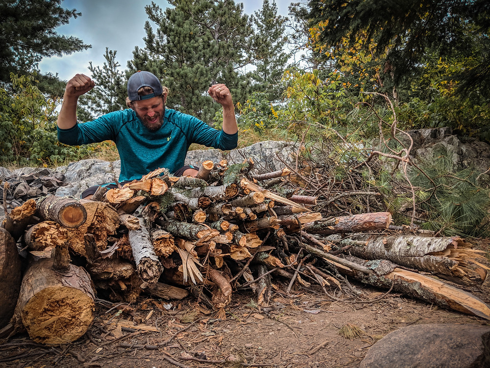 All the wood we collected while traveling in the Boundary Waters.