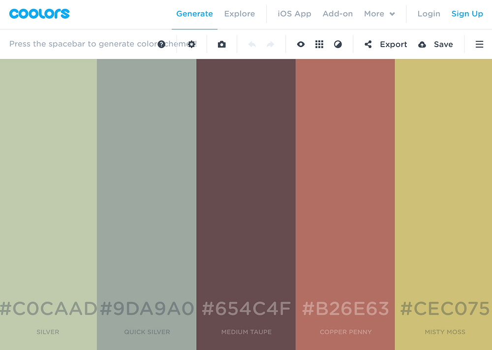 A look at the automatic color generator found on Coolors while creating a color scheme.