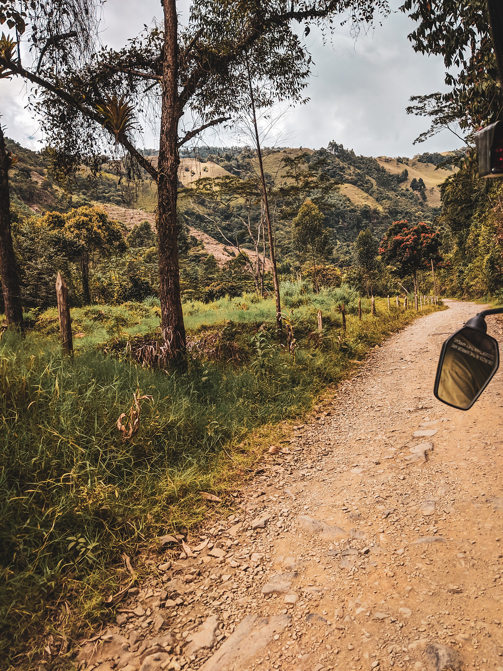 Tuk tuk ride in the mountains of Jardin, Colombia.