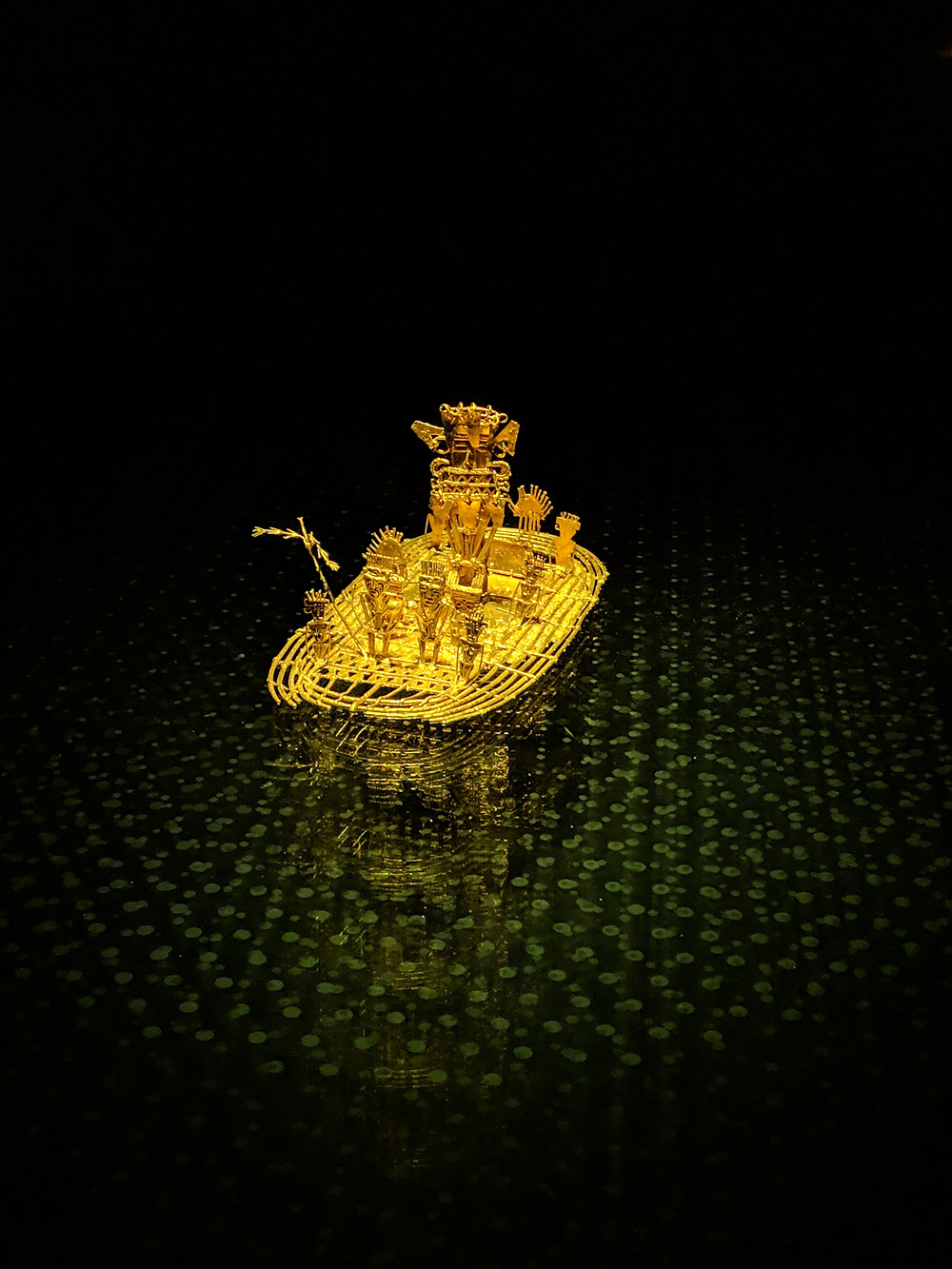A prized possession of El Museo de Oro, The Museum of Gold in Bogota, Colombia, the Muisca Raft.