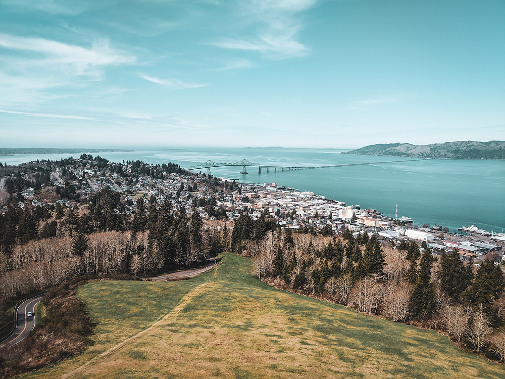 The view overlooking Astoria from the Astoria Column in the PNW.