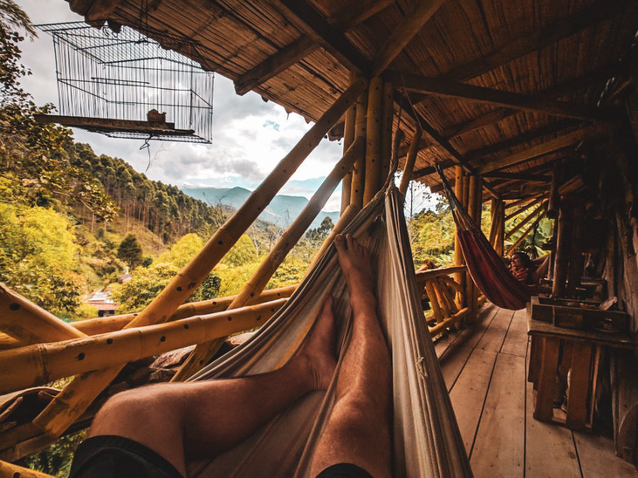 Hanging out in hammocks in the mountains of Jardin, Colombia.