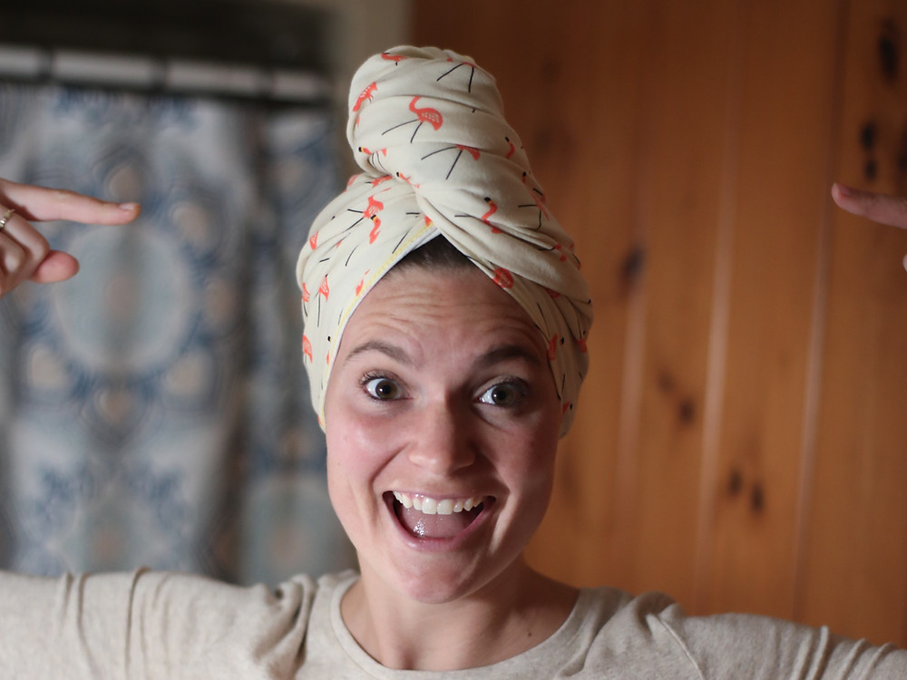 Steph from the Each Day Slow blog is wearing an organic cotton t-shirt towel from Lakeshore Dry Goods.